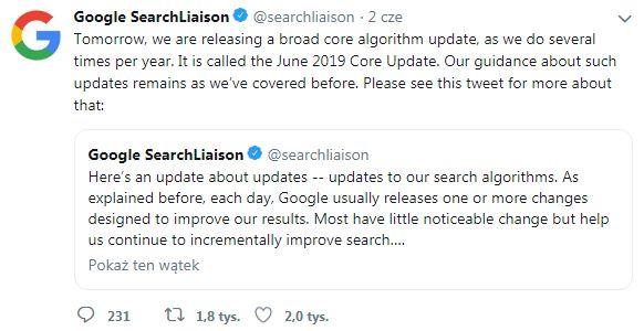 komunikat Google na Twitterze